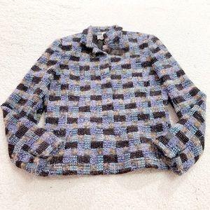 Carlisle leather buckle plaid wool tweed blazer